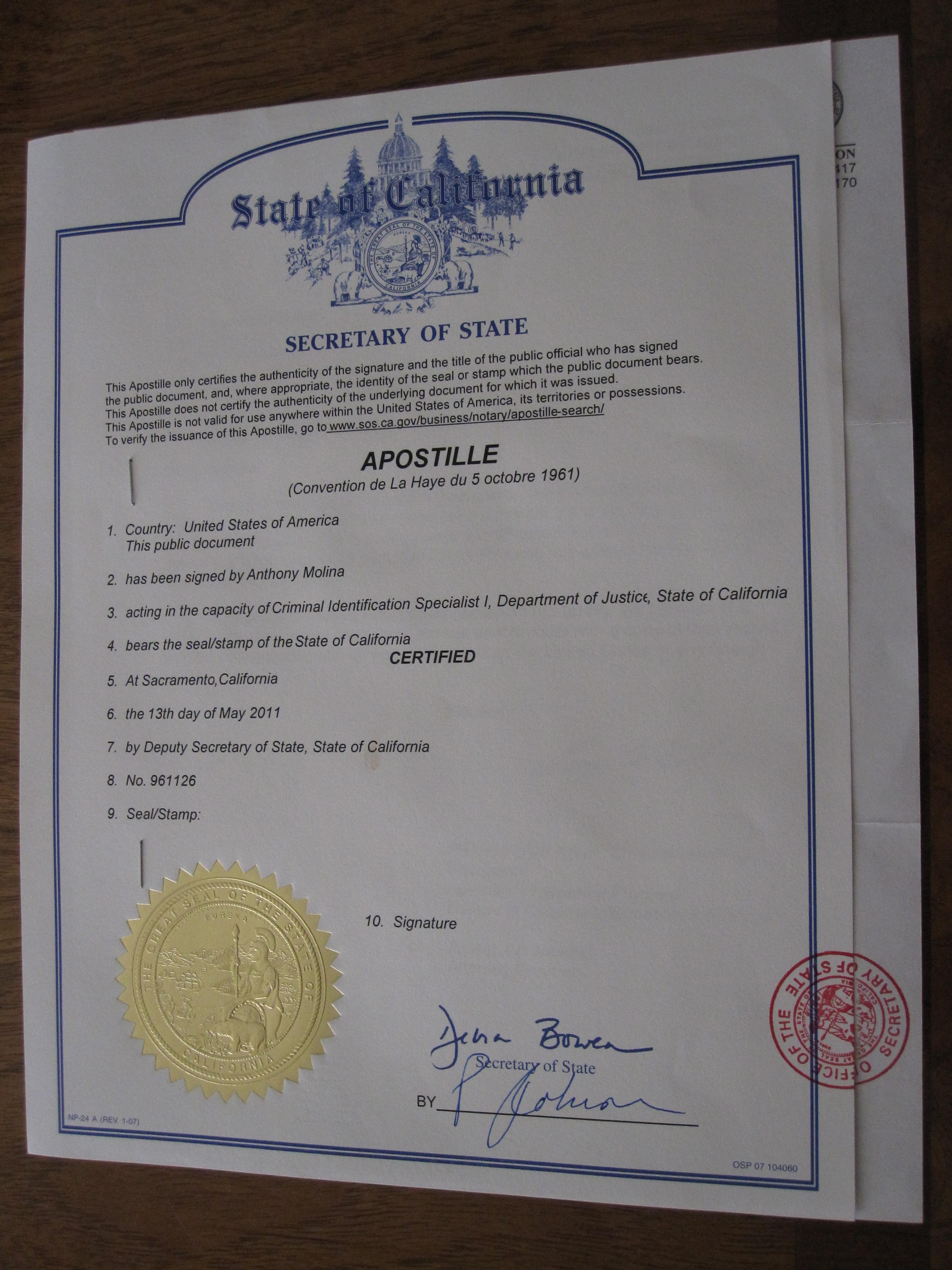 apostille cover letter california